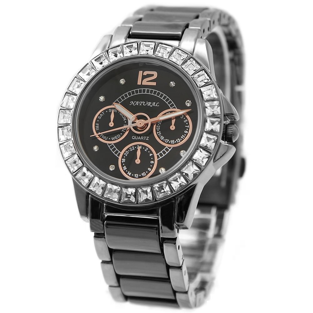 FW830L Gunmetal Band Water Resist Black Dial Ladies Women Ceramic Bracelet Watch