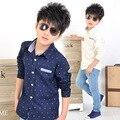 Crianças adolescente clothing blusa dot imprimiram a camisa do menino novo 2017 moda bebê Roupas Primavera de Manga Longa Blusas Tops 8 10 14 Anos