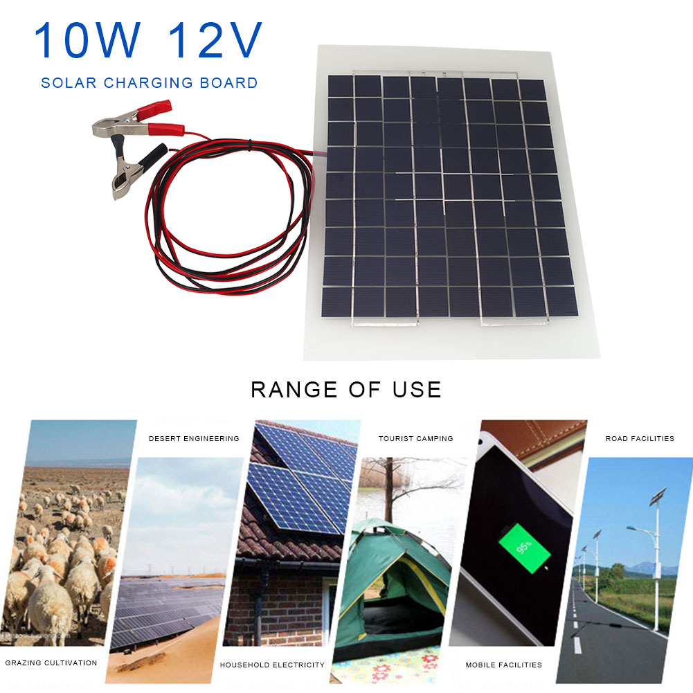 12V 10W Gray Accumulator Solar Panel Semi Flexible Energy Saving Outdoors Environmental Protection Economic Battery Charger