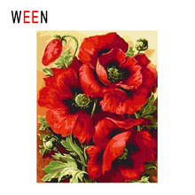 WEEN Blooming Red Rose Diy Painting By Numbers Flower Oil On Canvas Cuadros Decoracion Acrylic Wall Art Home Decor 2018