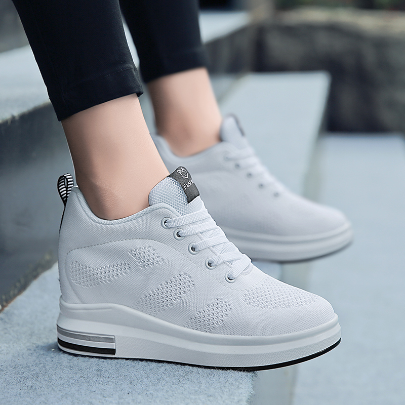 Hide Heel Women Fashion Sneakers Flying Knitting Wedge Casual Shoes Woman Air Mesh Breathable Autumn High Top Ladies Shoes SH3 in Women 39 s Vulcanize Shoes from Shoes