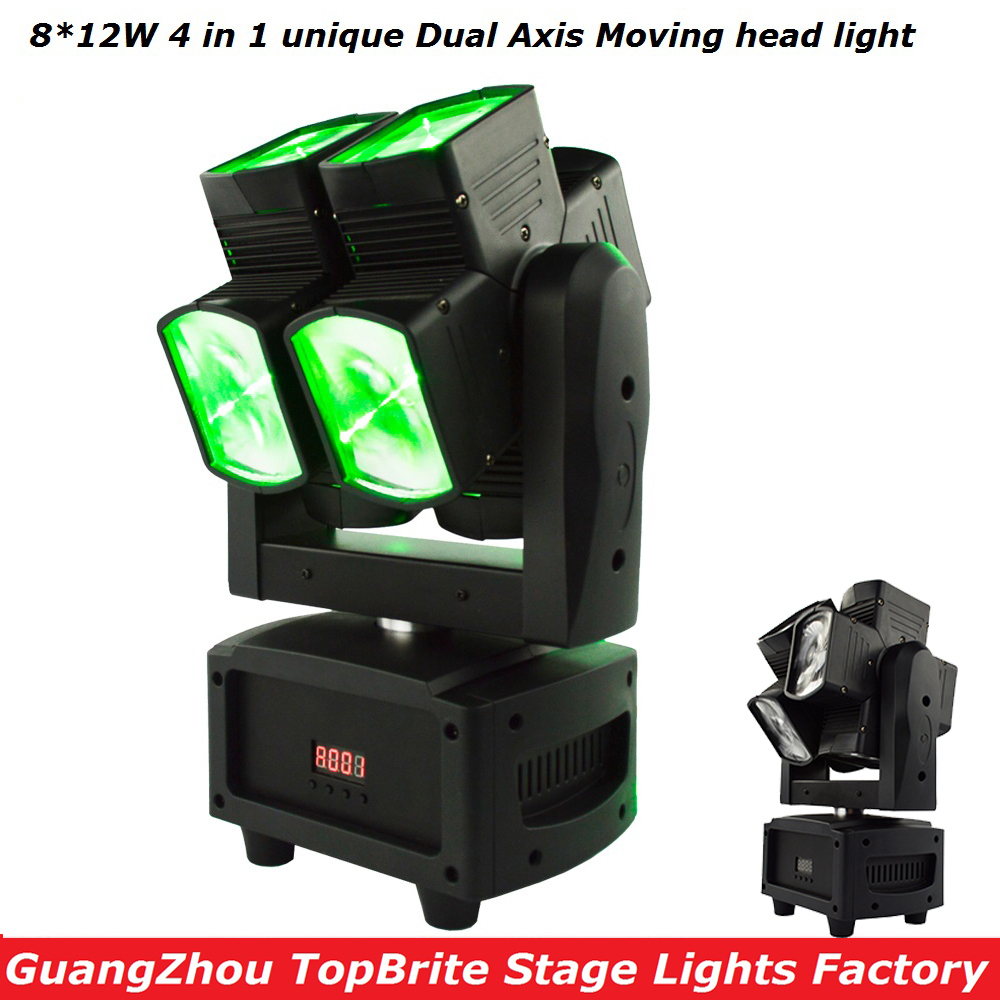 Factory Price High Quality 8*12W RGBW 4IN1 Unique Dual Axis Moving Head Light DMX512 Beam Light For Christmas Laser Projector laser head owx8060 owy8075 onp8170