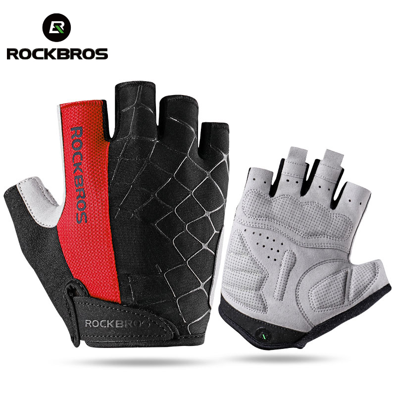 ROCKBROS Men's Cycling Bike Half Finger Gloves Shockproof Breathable MTB Mountain Bicycle Gloves Sports Unisex Cycling Clothings i kua fly mtb cycling gloves half finger bike gloves shockproof breathable mountain sports bicycle gloves men guantes ciclismo 4