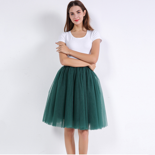 1df9d050f1169 US $8.54 76% OFF|5 Layers 60cm Princess Midi Tulle Skirt Pleated Dance Tutu  Skirts Womens Lolita Petticoat Jupe Saia faldas Denim Party Skirts -in ...