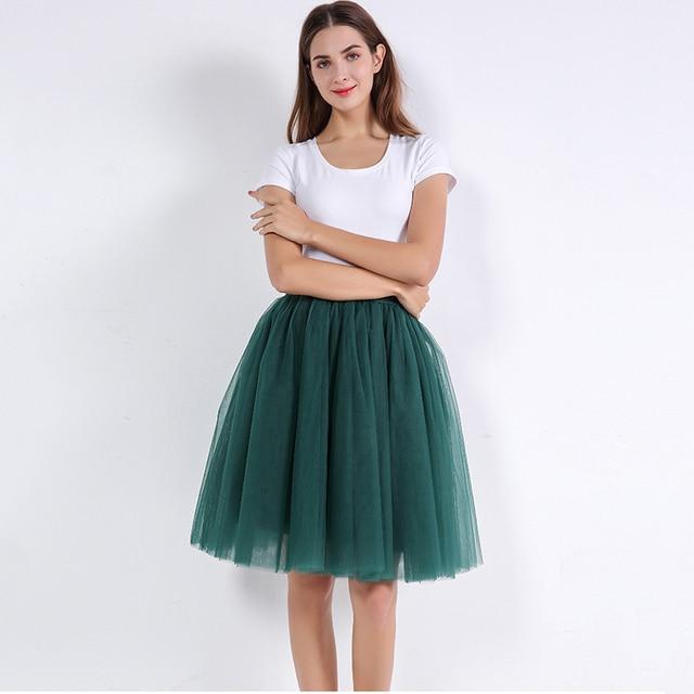 5 lớp 60 cm Công Chúa Midi Vải Tuyn Váy Xếp Li Vũ Tutu Váy Womens Lolita Petticoat Jupe Saia faldas Denim Đảng váy