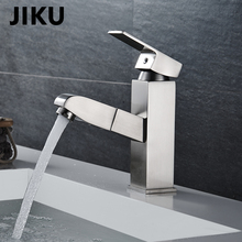 JIKU  Single Handle Bathroom Hot And Cold Water Mixer Taps Basin Faucet Kitchen Deck Mounted Brushed Chrome Basin Faucet все цены