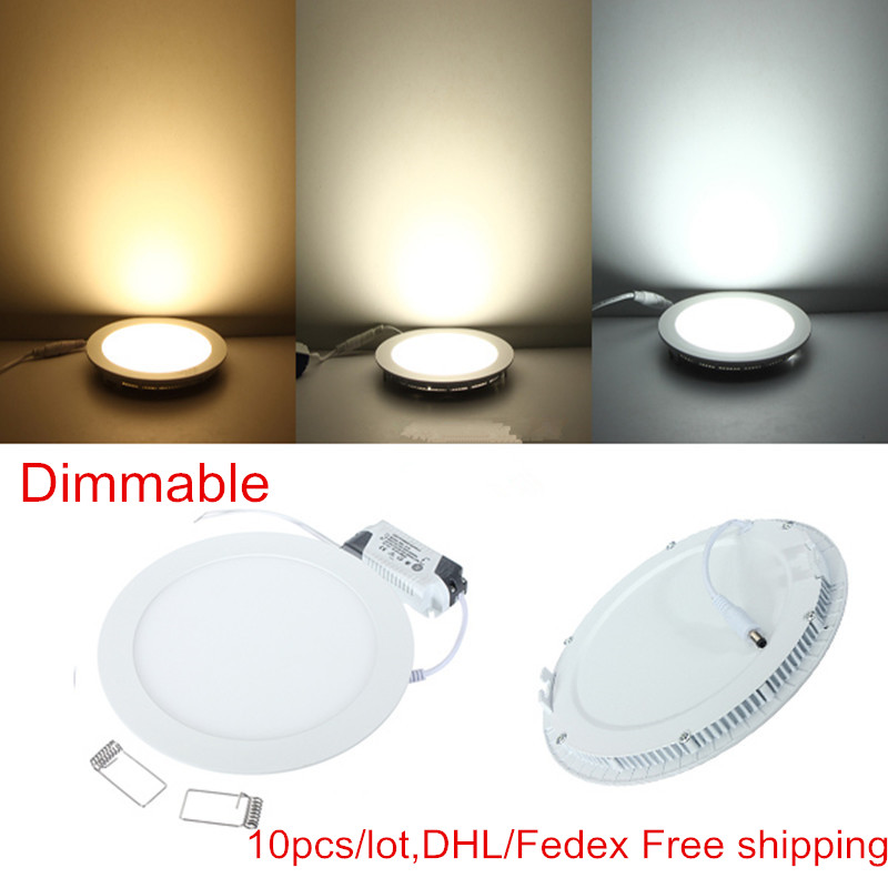 10pcs/lot Dimmable Ultra Thin 3W/4W/ 6W / 9W / 12W /15W/ 25W LED Ceiling Recessed Grid Panel Light / Slim Round Panel Light