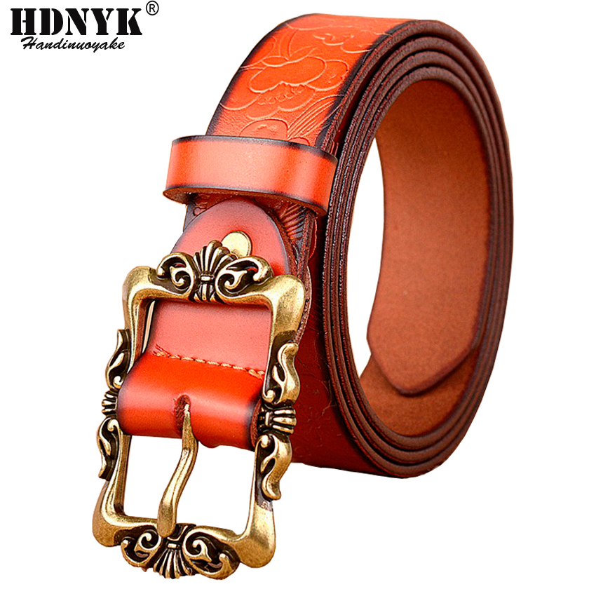 Hot Sell 6 Colors Genuine Leather Women Belt Fashion Vintage Metal Embossing Leather Belts for Women Strap Female Pin Buckle