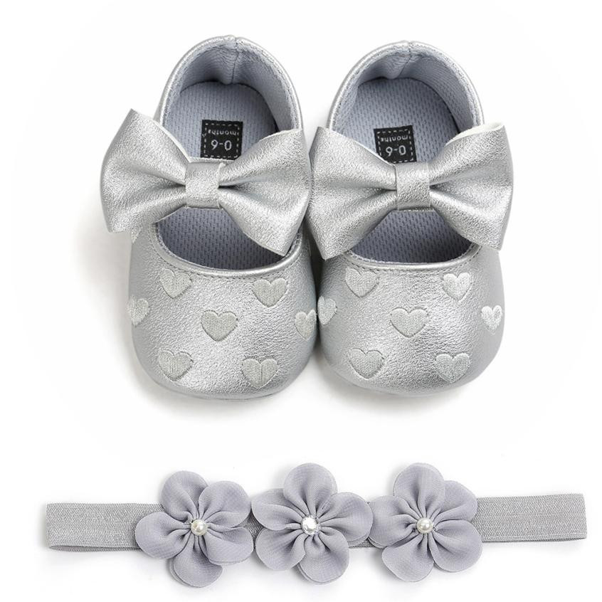 Baby Girls Love Embroidery Leather Shoes Fashion Toddler Casual Solid Slip-On Crib shoes First Walkers Shoes with 1PC Hairban