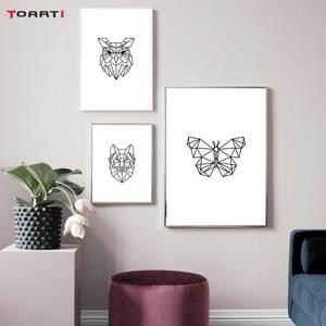 Image 3 - מינימליסטי בעלי חיים הדפסי כרזות נורדי צבי פרפר בד ציור על קיר לסלון חדר שינה בית תפאורה יצירות אמנות