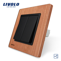 Manufacturer Livolo Luxury Natural Wood Panel Push Button 2Gang 2 Way Switch Smart Home VL C7K2S