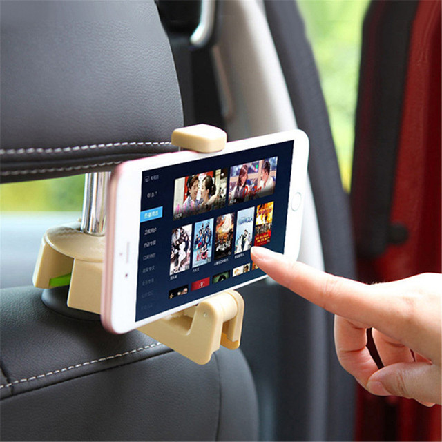 4PCS Car Seat Back Hook with Phone Holder Vehicle Headrest Seat Back Hanger Holder Hook Universal Mount Storage Auto Accessories