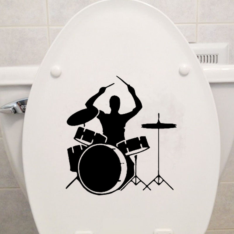 Bass Drum Sound Music Band Vinyl Toilet Stickers Decor Wall Decals 6WS0037