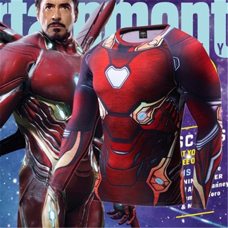 Compression T-Shirt 3D Anime Marvel Avengers Infinite War MK50 Iron Man Shirts Cosplay Costume Men Fitness Tshirts Long Sleeve
