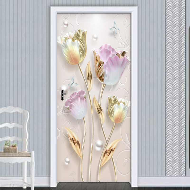 New Modern Embossed Tulip Flowers Door Stickers Mural PVC Self-adhesive 3D Wallpaper For Living Room Bedroom Door Decor Decals