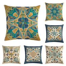 Classic Pattern Cushion Cover Mandala Symmetrical Geometry Decorative Linen Pillowcase for Sofa Bed Living Room Home Decor 45x45 swans heart pattern decorative linen pillowcase