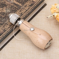 OOTDTY DIY Hand Single Stitch Sewing Awl Tool Leather Craft Belt With Thread Needles APR25