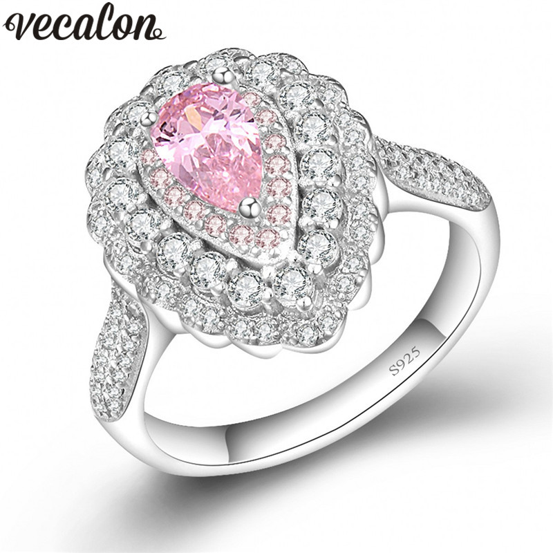 Vecalon Flower Design 925 Sterling Silver ring Pear cut 5A Pink Zircon Cz Engagement wedding band rings for women Bridal Jewelry vecalon heart shape jewelry 925 sterling silver ring 5a zircon cz diamont engagement wedding band rings for women bridal gift