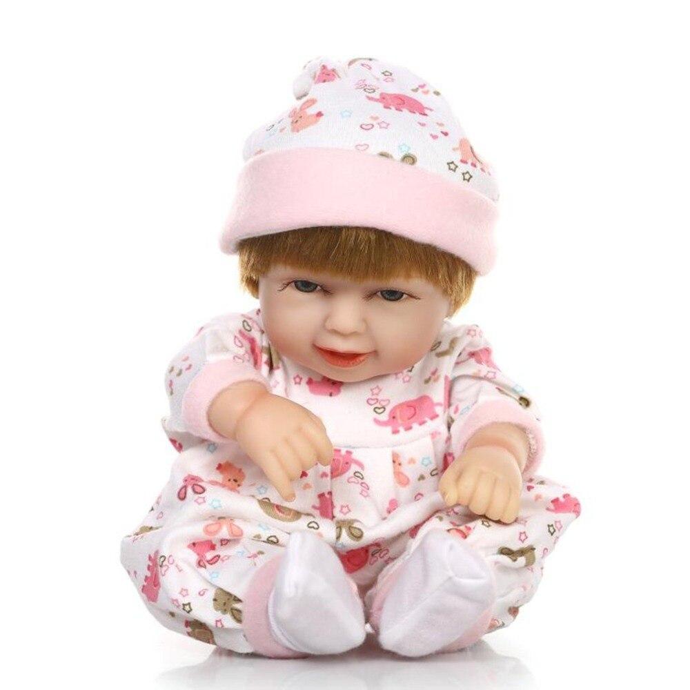 27CM Sleeping Bag Reborn Doll Toys Soft Silicone Smile Baby Girl Adorable Bebe Lifelike Newborn Doll Birthday Gift for Kids Baby