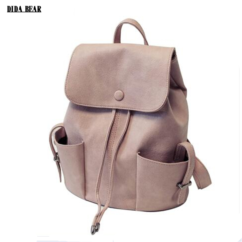 DIDA BEAR Brand Fashion String Leather Backpack Women Female New School Bag For Girls Teenagers Lady Rucksack Drawstring Mochila dida bear brand women pu leather backpacks female school bags for girls teenagers small backpack rucksack mochilas sac a dos