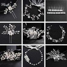 Miallo Fashion Pearls Wedding Hair Clip Bridal Accessories Jewelry Flower Comb Hairpins Handmade Pearl Headpieces