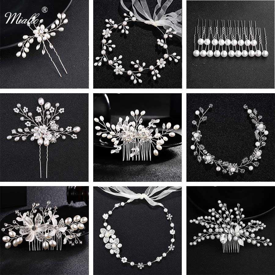 Miallo אופנה פניני חתונת שיער קליפ כלה שיער אביזרי תכשיטי פרח מסרק סיכות בעבודת יד פרל Headpieces