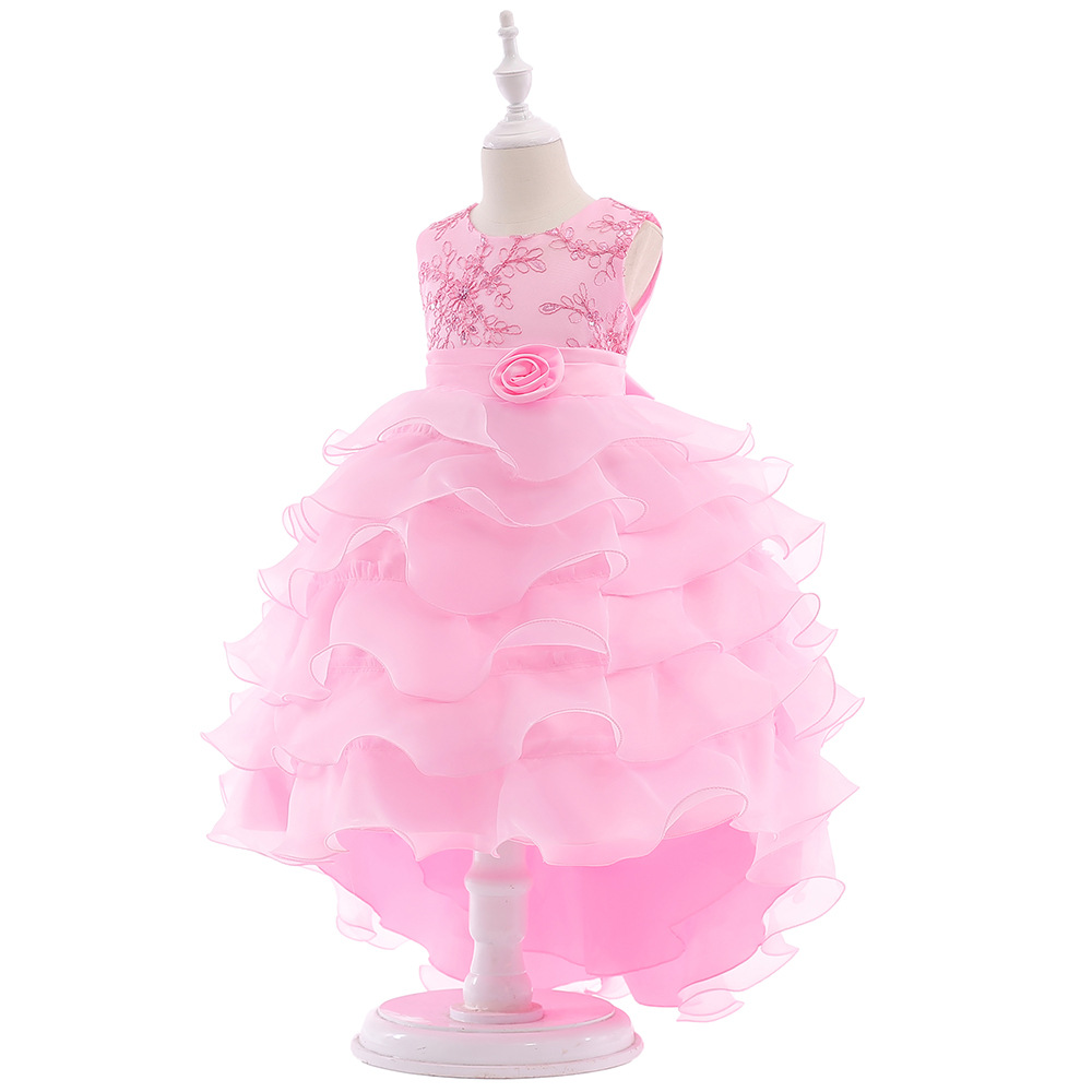 Pink Flower Girl Dress For Wedding with Ball Gown Style Little Princess Lace Bow Flower Girl Dresses 2019