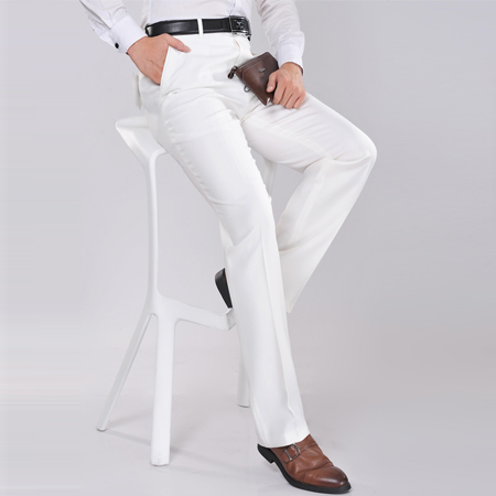 2016 Mens Fashion Simple Formal Suit Slim Fit Pants White Long ...