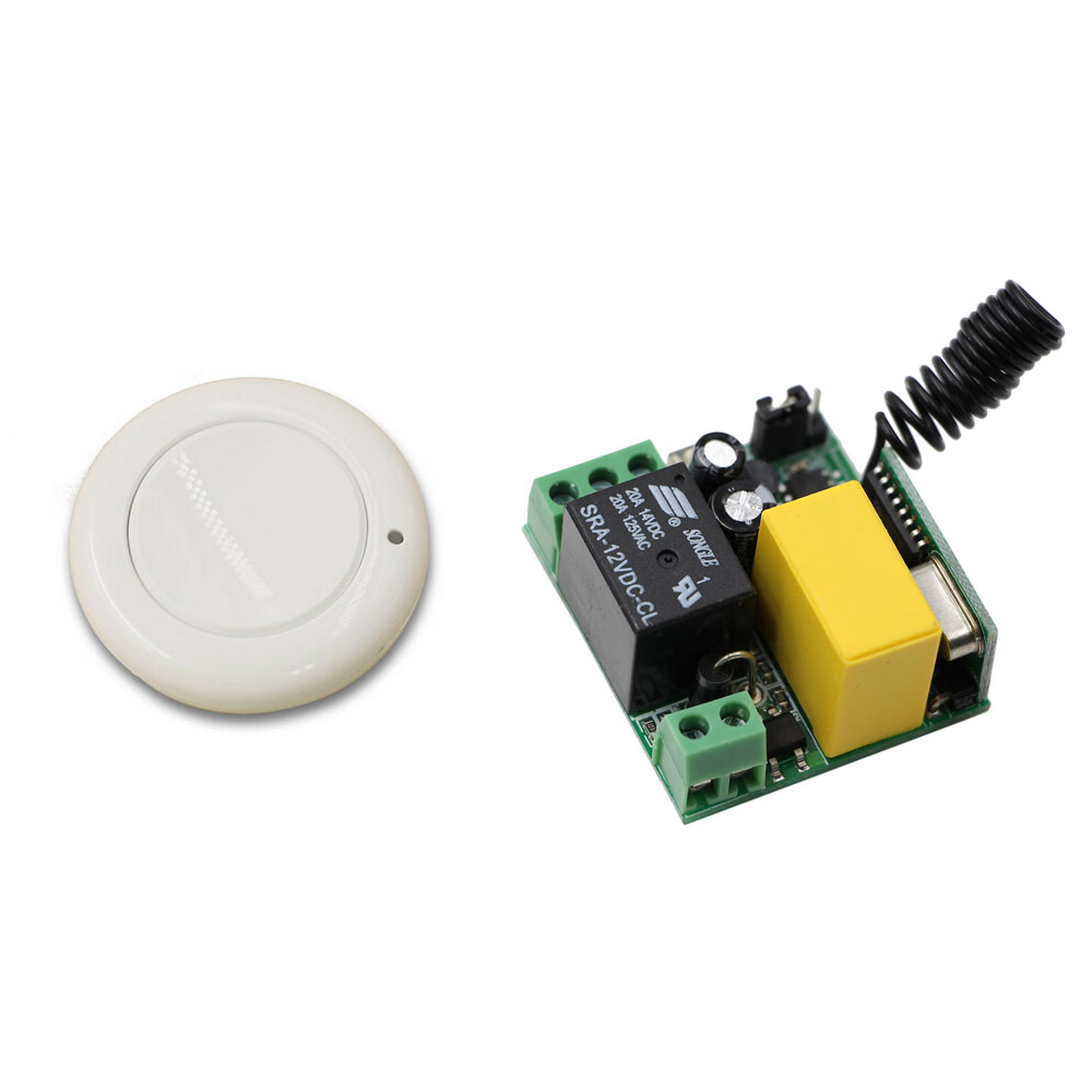New White Color Radio Controller RF Wireless  Remote Control Switch Wall Round Transmitter with Receiver Best Quality new design wireless remote control light switch radio 10v 220v 1 channel receiver module white transmitter high quality