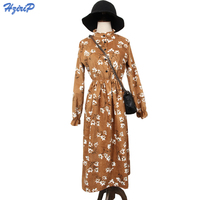 2017 New Spring Autumn Dress Women Elegant Vintage Floral Corduroy Loose Dresses Long Sleeve Stand Collar