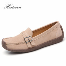 Hosteven Women Shoes Sneaker Loafers Flats Loafers Oxfords Boat Casual Genuine Leather Female  Leather Black Soild Shoes