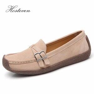 Image 1 - Zapatos de mujer Hosteven mocasines planos mocasines Oxfords barco Casual cuero genuino mujer cuero negro zapatos