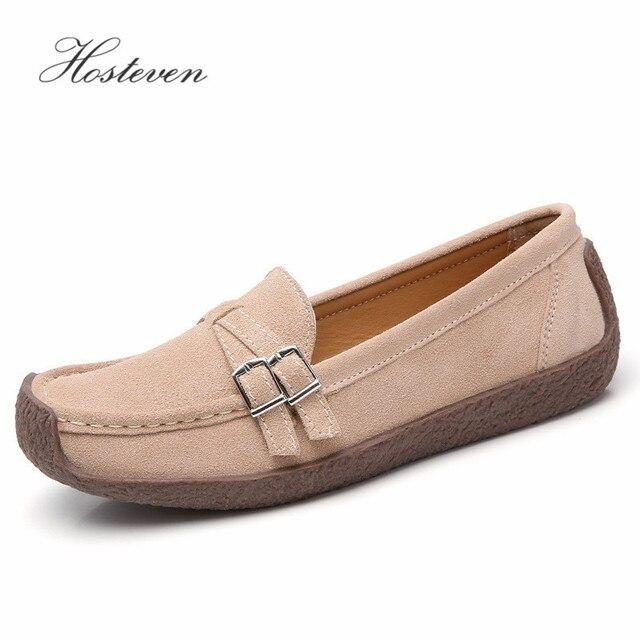Zapatos de mujer Hosteven mocasines planos mocasines Oxfords barco Casual cuero genuino mujer cuero negro zapatos