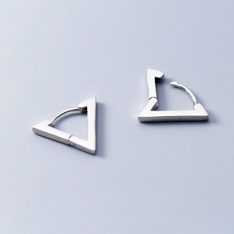 d937c927a8e6 MloveAcc genuino Plata de Ley 925 pendientes para las mujeres triángulo  Simple pequeña pendiente aro joyería minimalista