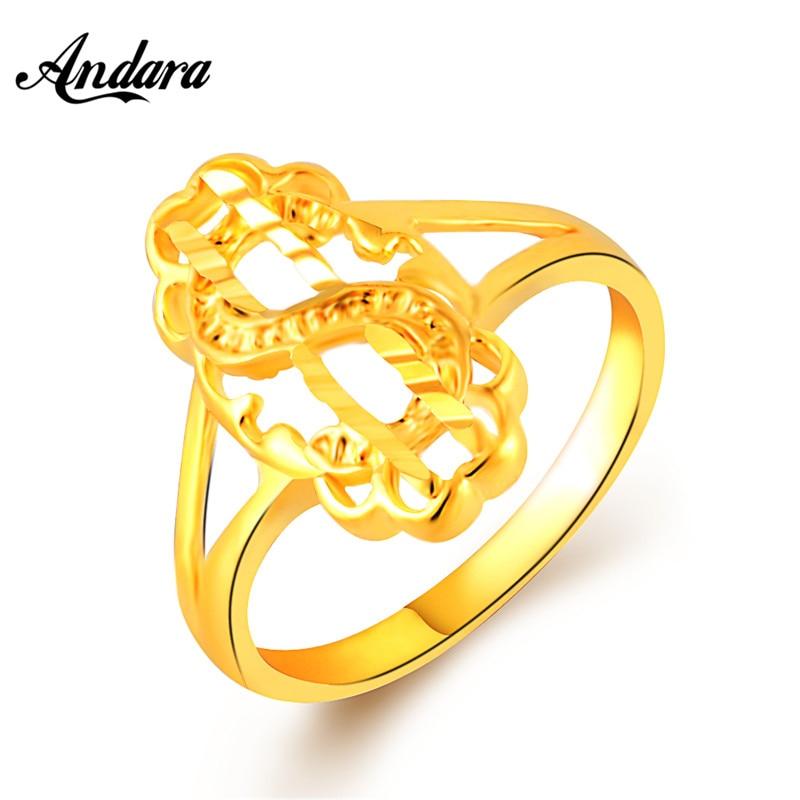 Andara New Simple Fashion Design Gold Finger Rings For Women Anle ...