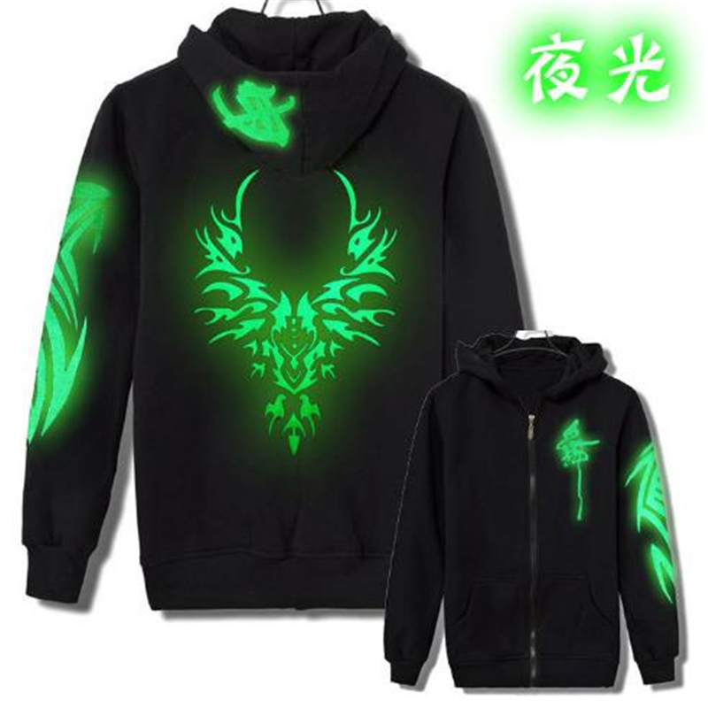 Luminous Clothes Ghostly Dancing Ghost Dance Step Fluorescent Hooded Jacket  Men's Slim Cardigan Jacket Acrylic Cosplay BOOCRE