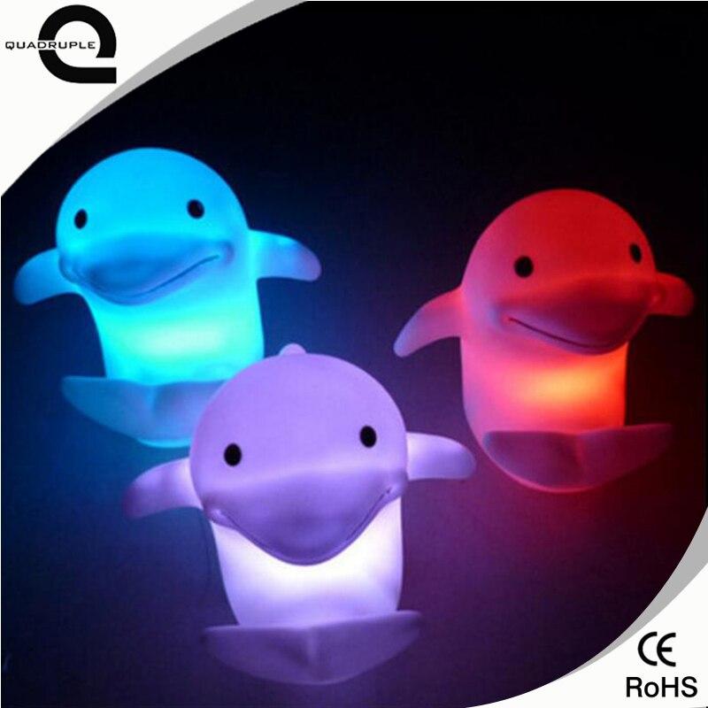 Четверка Симпатичные Дельфин Цвет Сменные светодиодный ночник для детей украшение комнат ...