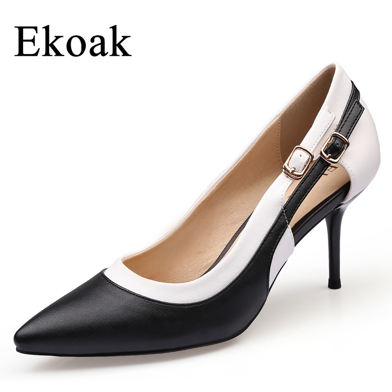 Ekoak New 2018 Classics Genuine Leather Dress Shoes Woman Sexy Thin High Heels Women Shoes Fashion Sheepskin Ladies Party Shoes