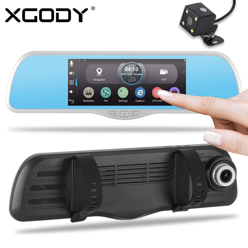 XGODY 7 inch Car DVR Android Dash Camera Dual Lens GPS Navigation Wifi HD 1080P Car Rearview Mirror Camera 512MB RAM 16GB ROM gps навигатор lexand sa5 hd