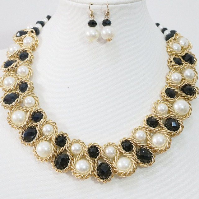 5621825f727 Best sale Multicolor Korean necklace earrings round shell simulated-pearl  abacus crystal gold-color women jewelry set B1270
