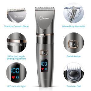 Image 2 - HATTEKER 3in1 profesyonel saç kesme makinesi su geçirmez saç giyotin erkekler tımar kiti seramik bıçak erkek LED ekran saç kesimi makinesi