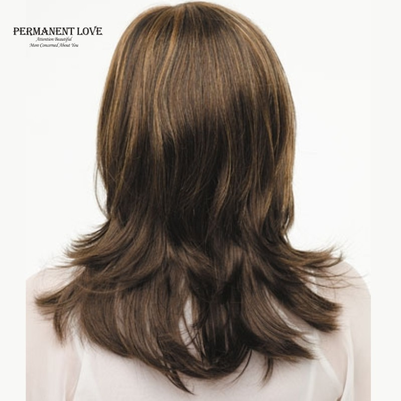 Synthetic Layered Wigs Brown Blonde Highlights Straight Bangs Medium