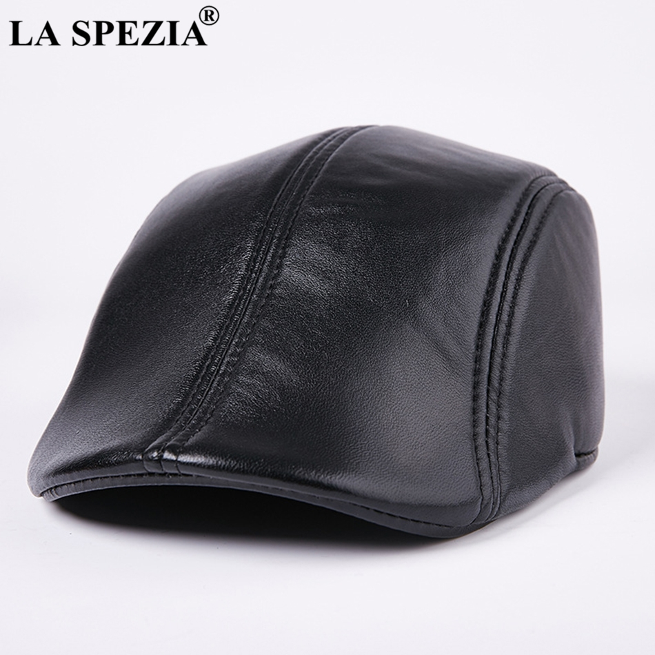LA SPEZIA Genuine Leather Berets For Men Casual Black Duckbill Ivy Caps Male Spring Luxury Italian Brand Directors Flat Hats(China)
