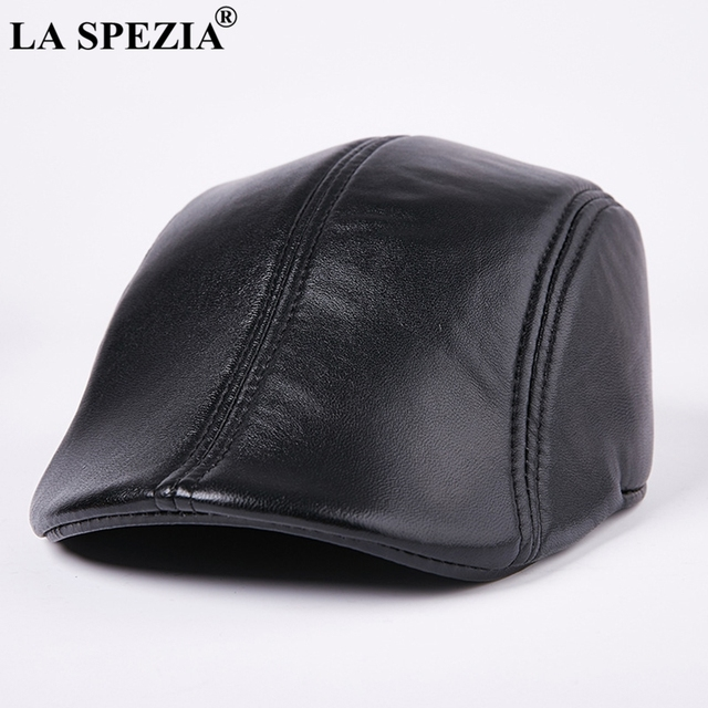 c1903085ea3 LA SPEZIA Genuine Leather Berets For Men Casual Black Duckbill Ivy Caps Male  Spring Luxury Italian Brand Directors Flat Hats