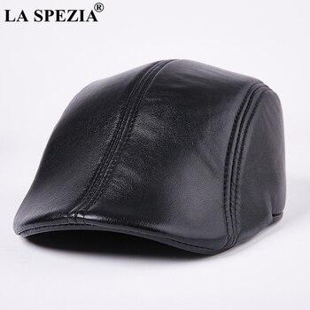 LA SPEZIA de cuero genuino boinas para hombres Casual negro pico de pato  Ivy tapas hombre primavera italiano de lujo marca directores plana sombreros ee7ef5ce634