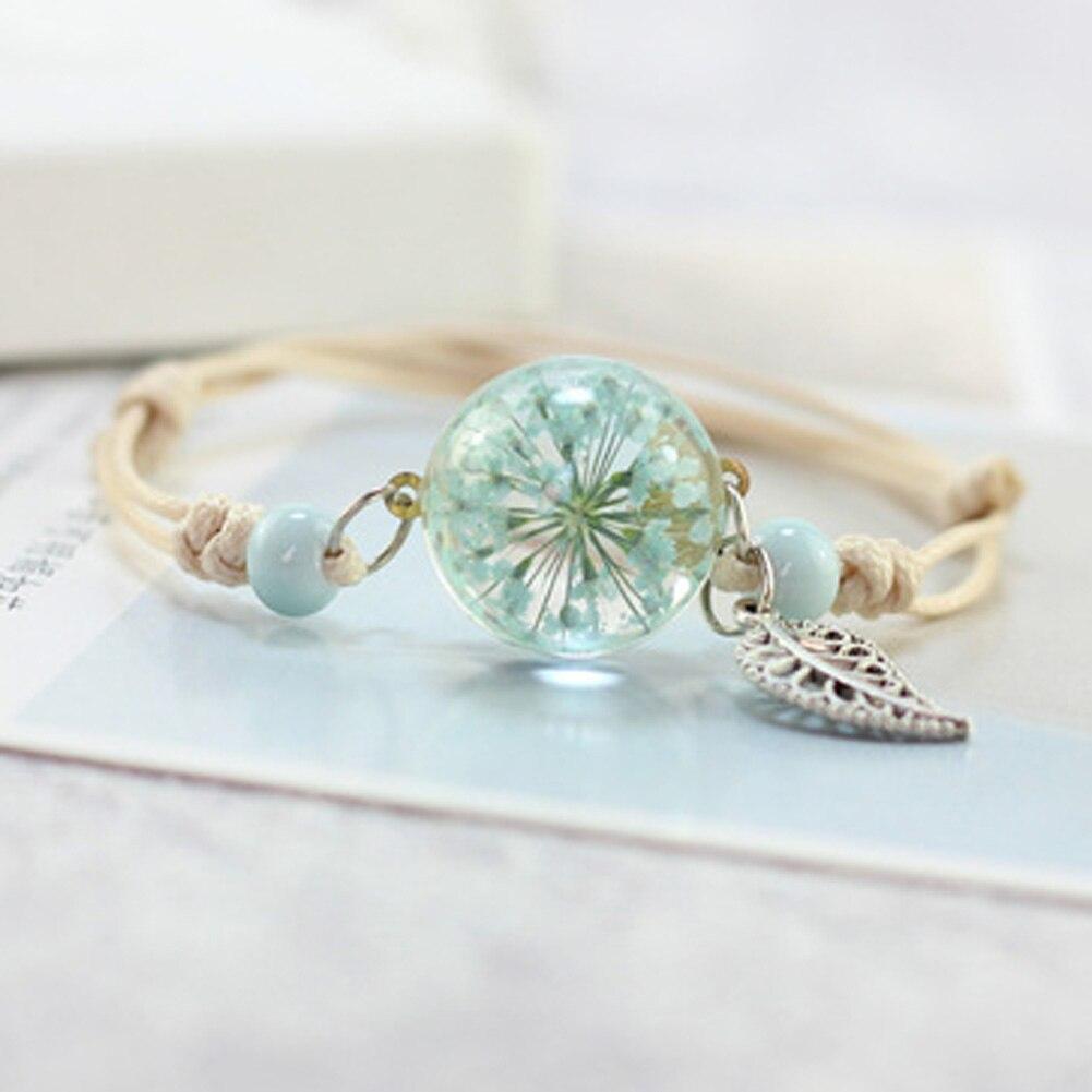 f2cc38cac379 Nueva Boho Vintage Charm Pulsera hecha a mano Real Dry Flower Glass ...