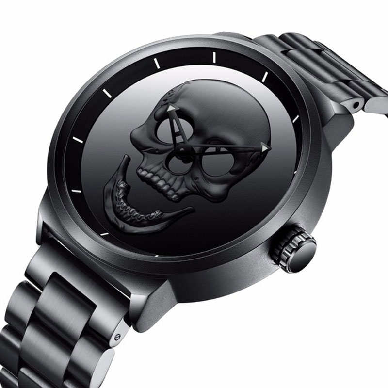 Erkekler İzle Retro 3D Kafatası Paslanmaz Çelik Erkek Spor Saatler - Erkek Saatleri - Fotoğraf 1