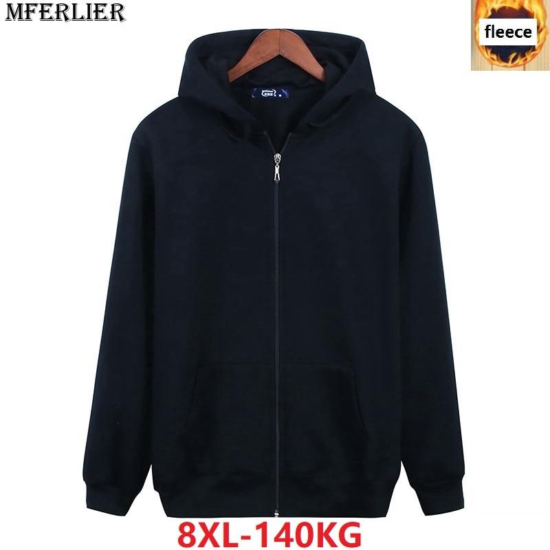 men Sweatshirts fleece hooded Hoodies warm sportwear jackets plus large size big 5XL 7XL 8XL thick winter outwear black coat 54