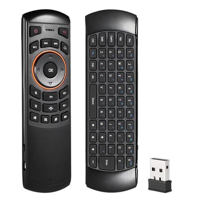 US $12 31 23% OFF|Mini 2 4GHz Wireless QWERTY Keyboard Air Mouse Remote  Control For Smart TV Mini PC TV Box for Mac OS for Linux-in Keyboards from