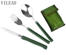 VILEAD Army Green Multifunctional  Folding Outdoor Tableware Knife Spoon Fork Set Stainless Steel Picnic Tools for Party BBQ